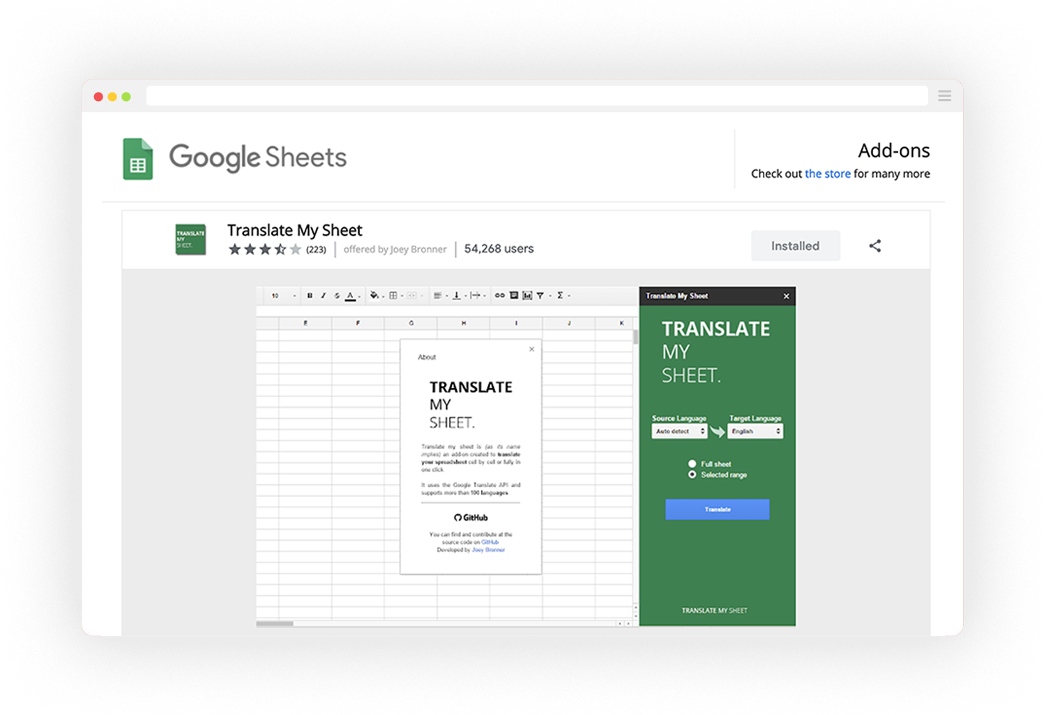 screenshot of Translate My Sheet TMS app on Chrome Web Store